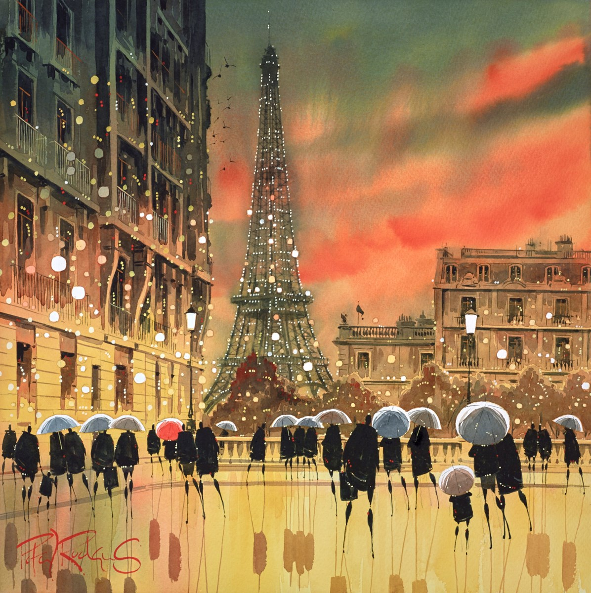 Eiffel Brollies - Paris by peter j rodgers -  sized 20x20 inches. Available from Whitewall Galleries